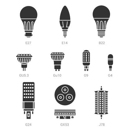 e27: LED light lamp bulbs vector silhouette icon set on white background Illustration