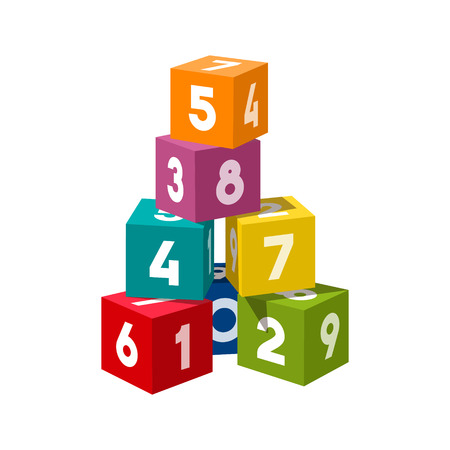 building bricks: Bright colored bricks building tower. Block vector illustration on white background. Numeral cubes with numbers.