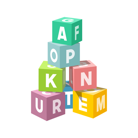 Pastel colored block building tower. Bricks vector illustration on white background. Alphabet cubes with letters.