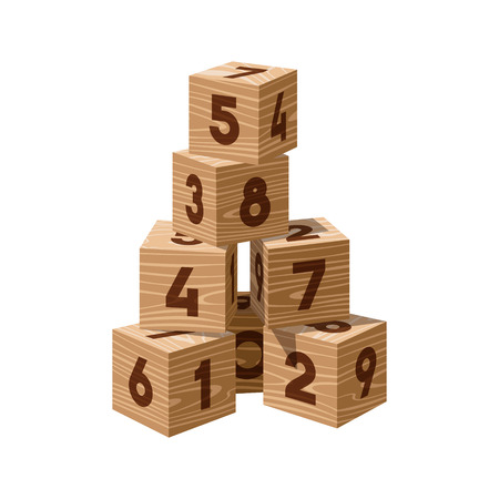 building bricks: Wooden bricks building tower. Block vector illustration on white background. Numeral cubes with numbers.