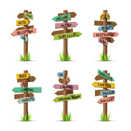 Gekleurde houten pijlborden resort vector set. Houten teken postconcept met gras. Board pointer illustratie met tekst geïsoleerd op een witte achtergrond Stock Illustratie