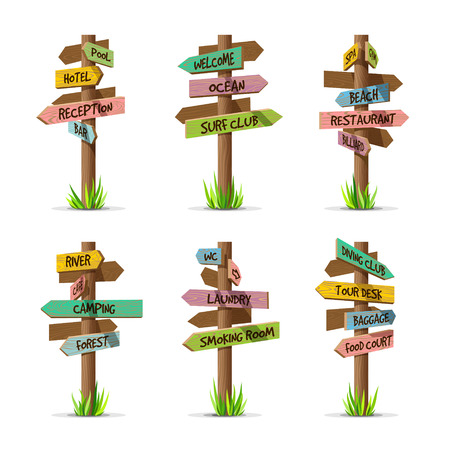 Colored wooden arrow signboards resort vector set. Wood sign post concept with grass. Board pointer illustration with text isolated on a white background