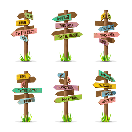 Colored wooden arrow signboards direction vector set. Wood sign post concept with grass. Board pointer illustration with text isolated on a white background