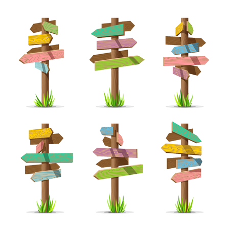 sign post: Colored wooden arrow signboards blank vector set. Wood sign post concept with grass. Board pointer illustration isolated on a white background