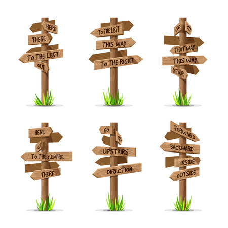 Wooden arrow signboards direction vector set. Wood sign post concept with grass. Board pointer illustration with text isolated on a white background
