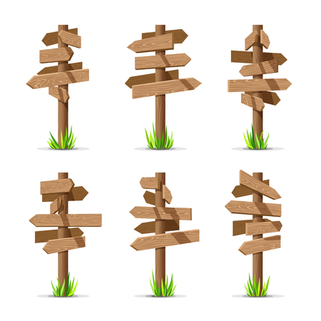 Wooden arrow signboards blank vector set. Wood sign post concept with grass. Board pointer illustration isolated on a white background