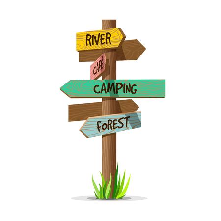 色の木製矢印ベクトル リゾート看板。木製サイン ポスト草のコンセプトです。テキストは、白い背景で隔離の基板のポインターの図  イラスト・ベクター素材