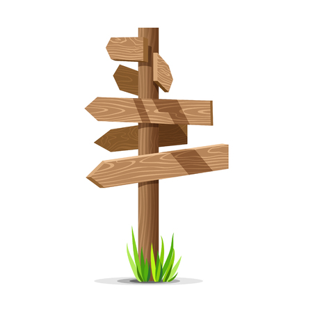 Wooden arrow vector empty signboard. Wood sign post concept with grass. Board pointer illustration isolated on a white background
