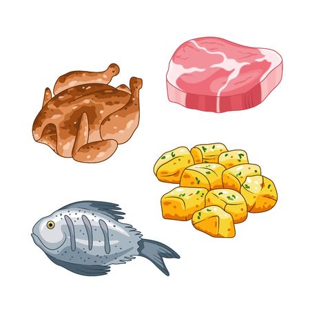 Voedsel en maaltijdvector in beeldverhaalstijl die wordt geplaatst. Vlees biefstuk, kip vis en aardappelen illustratie. Enkele objecten geïsoleerd op wit.