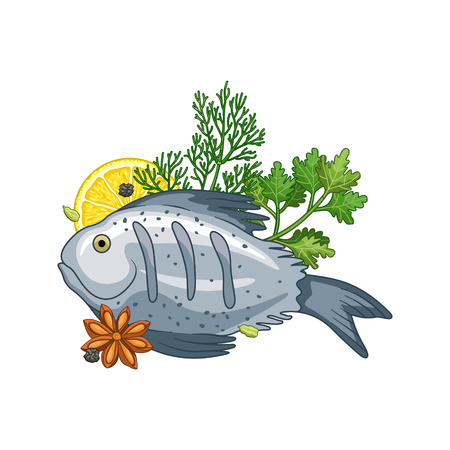 food preparation: Fish dish vector set with herbs and spices in cartoon style. Food and meal illustration. Isolated on white.