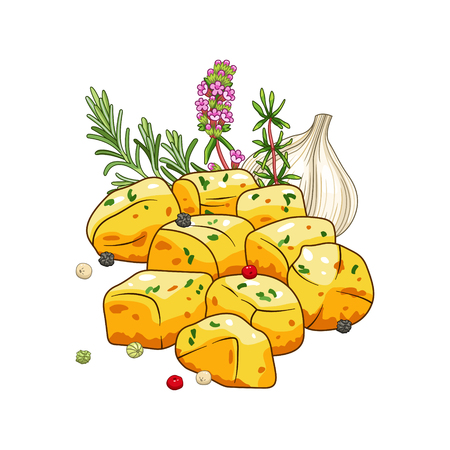 Potatoes dish vector set with herbs and spices in cartoon style. Food and meal illustration. Isolated on white.
