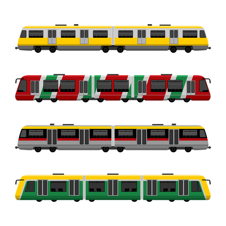 Modern high speed city subway trains vector set. Isolated on white background Illustration