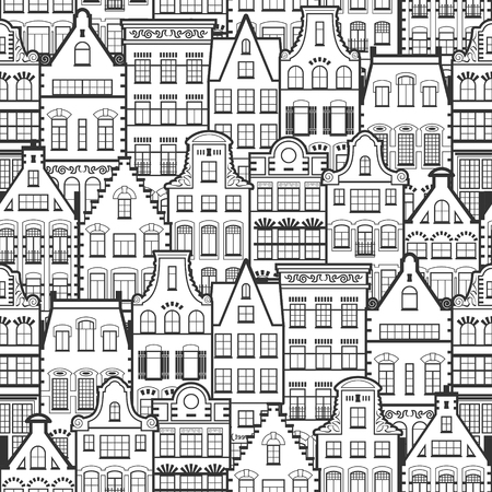 dutch: Seamless Pattern of Holland old houses facades. Traditional architecture of Netherlands. Line style black and white vector isolated illustrations in the Dutch style. For coloring, design, background. Illustration