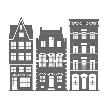 オランダの伝統的な建築様式。  イラスト・ベクター素材