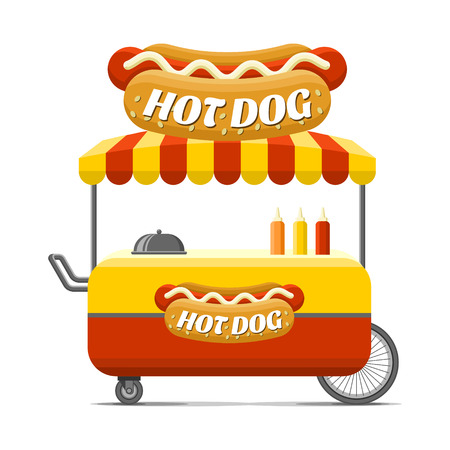 Hot dog street food cart. Colorful vector illustration, cartoon style, isolated on white background