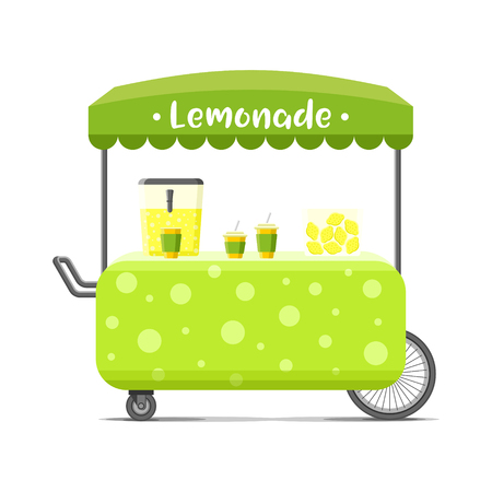 Fresh cold lemonade street food cart. Colorful vector illustration, cartoon style, isolated on white background Illustration