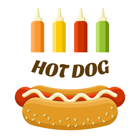 Hot dog street food. Colorful vector illustration, cartoon style, isolated on white background