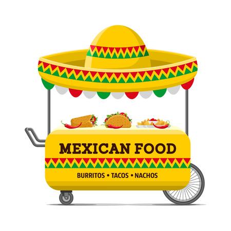 メキシコ料理の通りカートのイラスト。 写真素材 - 86730025