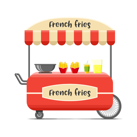 French fries street food cart. Colorful vector illustration, cute style, isolated on white background Illustration