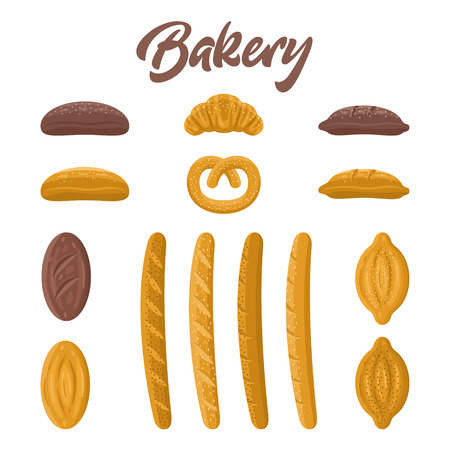 Bakery food vector set. Different kinds of fresh bread, baguette, loaf, pretzel, croissant. Cute style, isolated on white background