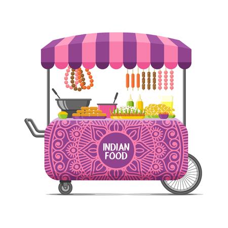 Chariot de nourriture de rue indien. Illustration vectorielle coloré, style cartoon, isolé sur fond blanc. Banque d'images - 87875958
