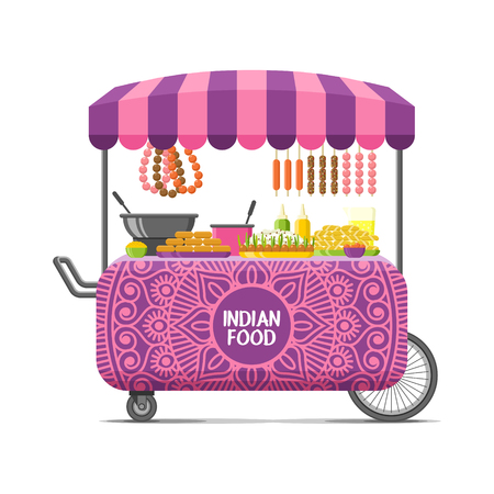 Indiase straatvoedselkar. Kleurrijke vectorillustratie, cartoon stijl, geïsoleerd op een witte achtergrond.