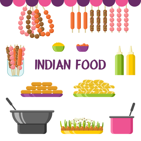 Indian food, dishes and ingredients set. Colorful vector illustration, cute style, isolated on white background Illustration