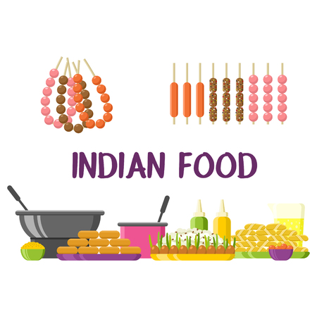 Indian food restaurant colorful showcase. Dishes and ingredients set. Colorful vector illustration, cute style, isolated on white background