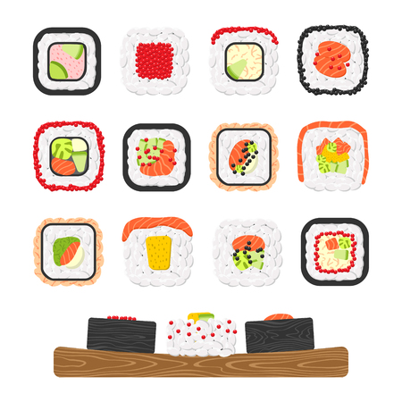 Vector icon set of yummy colored sushi rolls. Collection of different flavours and kinds Illustration