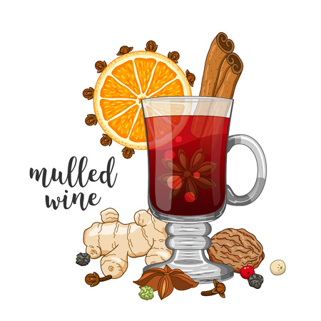 Vector composition on white background with glass of mulled wine, orange, cinnamon, cardamom, anise star, cloves, pepper, ginger, coriander and nut. Beautiful winter christmas colored illustration. Illustration