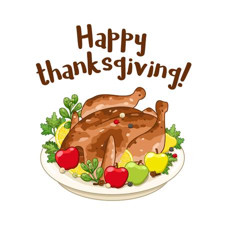 Roasted turkey or chicken for Happy Thanksgiving day. Vector cartoon illustration.