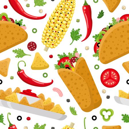 Comida mexicana sin patrón de fondo. Foto de archivo - 88232354