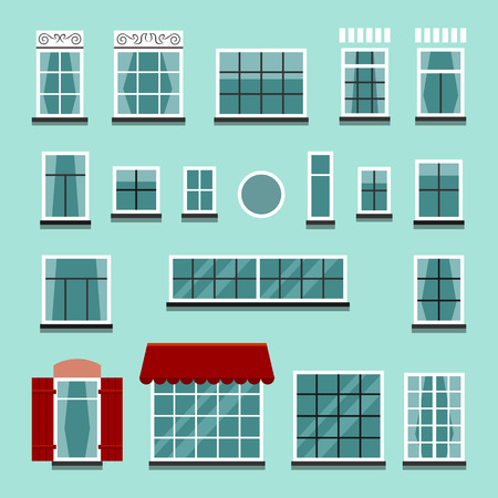 Set of plastic or wooden window frames with shutters, windowsills, curtains, balconies without wall. Flat style vector illustration Illustration