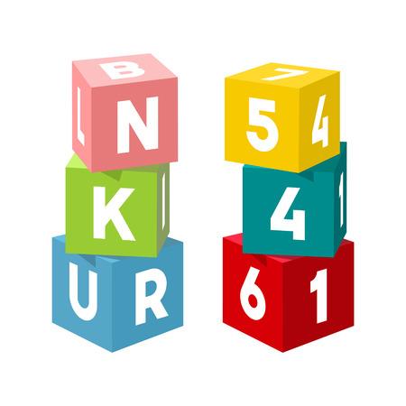 Helle bunte Spielzeugziegelsteine, die Türme errichten. Blockieren Sie Vektorillustration auf weißem Hintergrund. Würfel mit Zahlen und Buchstaben. Vektorgrafik