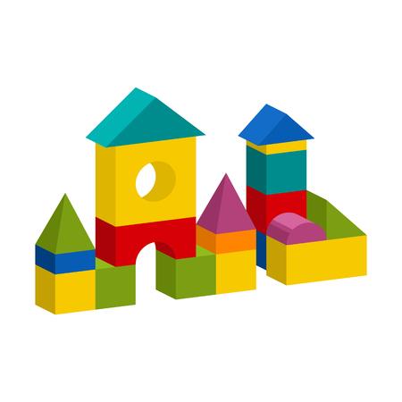 明るいカラフルな木製ブロックのおもちゃ。