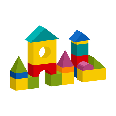 Bright colorful wooden blocks toy.