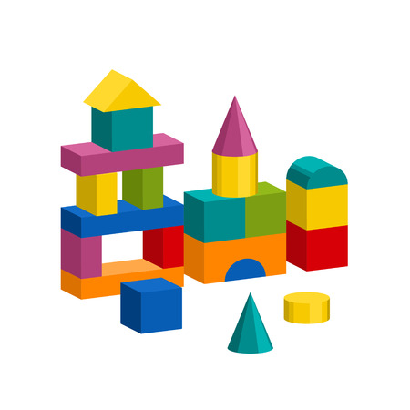 Bright colorful wooden toy blocks vector illustration