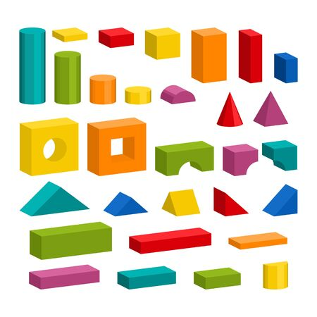 Bright colorful wooden toy blocks vector set