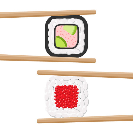 Vector icon set of yummy colored sushi rolls with chopsticks. Different flavours and kinds