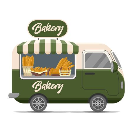 Bakery street food caravan trailer with fresh bread, loaf, baguette, pretzel, croissant. Colorful vector illustration, cute style, isolated on white background.