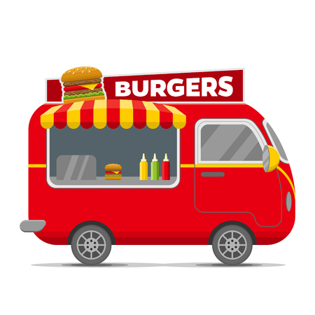 Burgers street food caravan trailer. Colorful vector illustration, cartoon style, isolated on white background Vectores