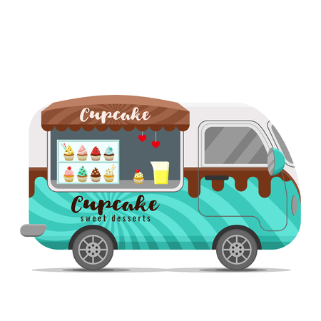 Cupcake street food caravan trailer. Colorful vector illustration, cute style, isolated on white background