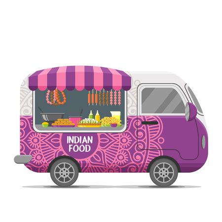 Indyjska przyczepa kempingowa z jedzeniem ulicznym. Ilustracja wektorowa kolorowy, stylu cartoon, na białym tle. Ilustracje wektorowe