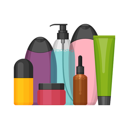 Colorful vector cosmetic bottles set Illustration