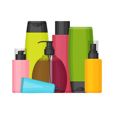 Colorful vector cosmetic bottles set for beauty and cleanser, skin and body care, toiletries. Flat design on a white background.