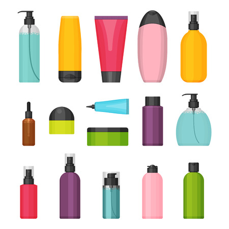Set of vector colorful cosmetic bottles for beauty and cleanser, skin and body care, toiletres. Flat design on a white background. Cream, tooth paste, shampoo, gel, spray, tube and soap