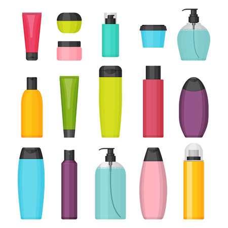 Set of vector colorful cosmetic bottles