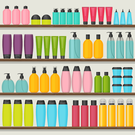 Colorful vector shop shelves with cosmetic bottles. Set for beauty and cleanser, skin and body care. Flat design