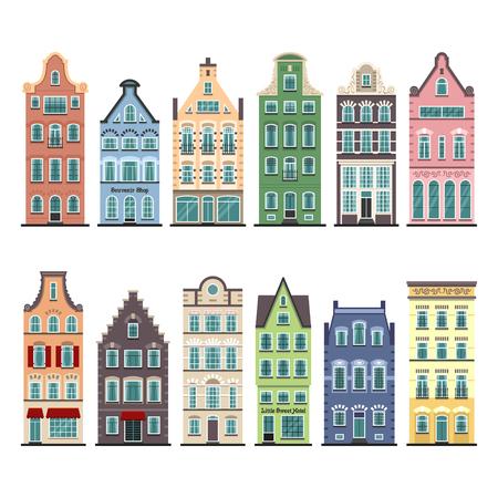 Conjunto de 12 fachadas de dibujos animados de casas antiguas de Amsterdam. Arquitectura tradicional de Holanda. Coloridas ilustraciones planas aisladas en el estilo holandés. Ilustración de vector