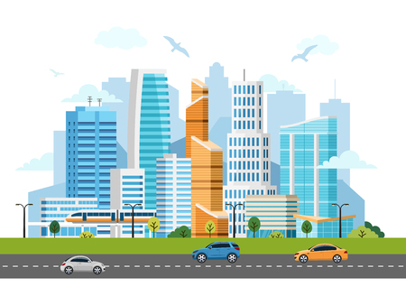 City downtown skyscrapers vector landscape. Buildings, skyscrapers and transport traffic Illustration